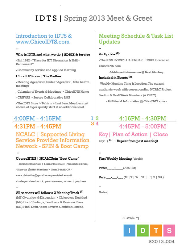 meeting agendas instructional design technology society